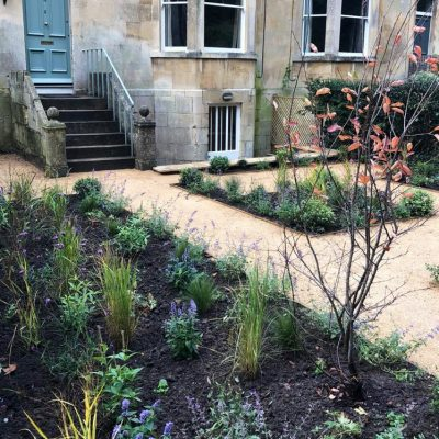 Practical front garden design with hoggin and planting in Bath