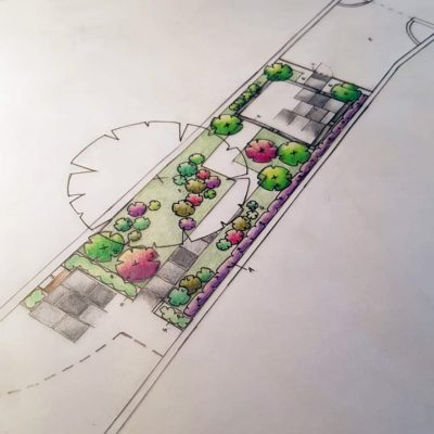 An example of a garden design in progress by Bath Garden Design